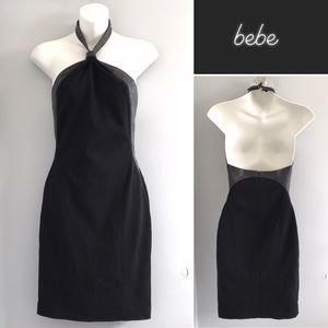 Bebe Black Leather Trim Halter Dress NWT XS
